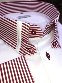 MorCouture Red Striped Tab Collar Shirt -special order