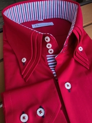 MorCouture Red Triple High Collar Shirt
