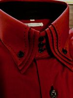 MorCouture Red Triple Stitch High Collar Shirt XL (17 - 17.5)