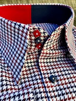 MorCouture Red White Blue Woven Pattern Shirt(16 color options)