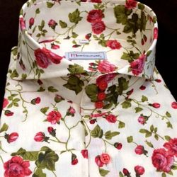 MorCouture Rose Floral Cutaway Collar Shirt