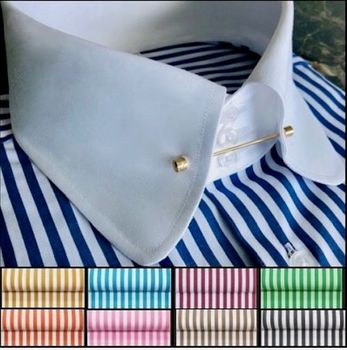 MorCouture Rounded Tie Pin Collar Shirt (White/Blue)