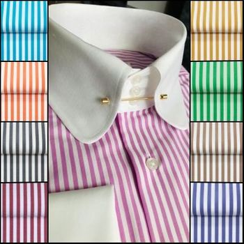 MorCouture Rounded Tie Pin Collar Shirt (White/Pink)