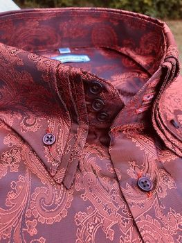 MorCouture Rust Paisley Triple Collar Shirt (Over 200 color options)
