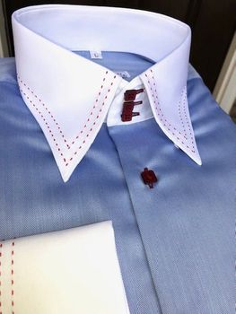MorCouture Sky Herringbone Red Accent Shirt-Special order