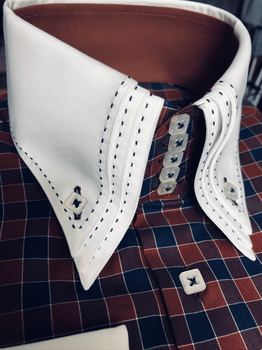 MorCouture Stitched Brown Navy Squares Shirt