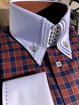 MorCouture Stitched Brown Navy Squares Shirt#2