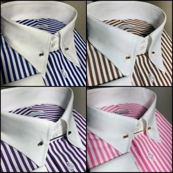 MorCouture Stripe Tie-Pin Collar Shirt (19 color options)