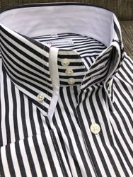 MorCouture Striped Double High Collar Shirt -special order