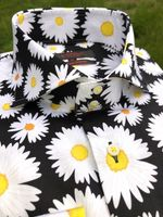 Axxess Black Daisy Spread Collar Shirt XL(17 - 17.5)