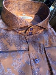 MorCouture Taupe Blue Paisley Spread Collar Shirt (over 200 color options)