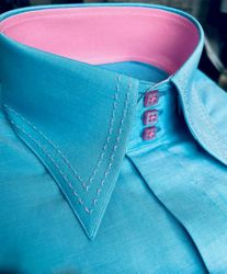 MorCouture Turquoise Pink Stitch  High Collar Shirt