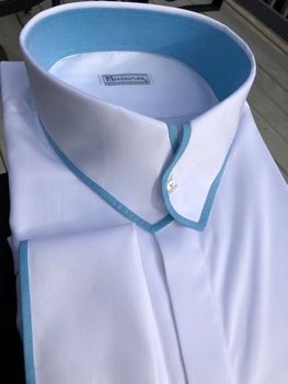MorCouture White Aqua Trim Casanova Collar Shirt