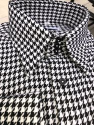 MorCouture White Black Houndstooth Pattern High Collar Shirt