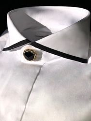 MorCouture White Black Strip Cutaway Collar Shirt