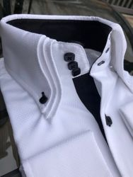 MorCouture White Black Triple High Collar Shirt