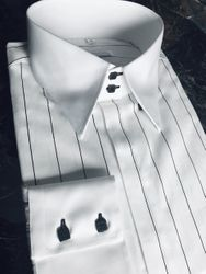 MorCouture White Black Wide Pinstripe Shirt