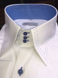 MorCouture White Blue Stitch High Collar Shirt