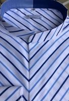 MorCouture White Blue Stripe Diagonal Band Collar Shirt  17 - 17.5