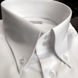 MorCouture White Button Down High Collar Shirt