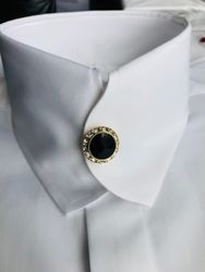 MorCouture White Casanova Collar Shirt with Black Swarovski Crystals