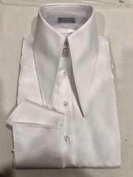 MorCouture White Couture High Collar Shirt