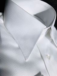 MorCouture White Deep Cut Herringbone High Collar shirt