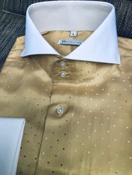 MorCouture White Gold Silver Pin Dot Spread Collar Shirt