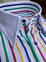 MorCouture White Multi Herringbone Stripe Shirt