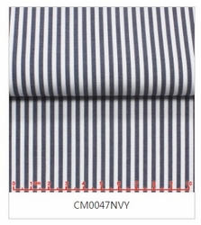 MorCouture White Navy Stripe High Collar Shirt