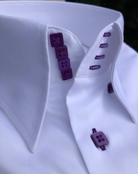MorCouture White Purple High Collar Shirt