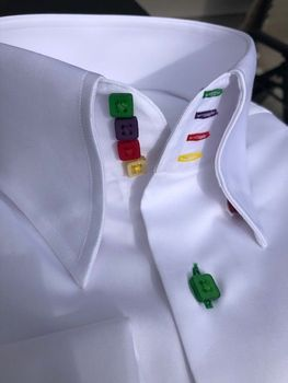 MorCouture White Rainbow High Collar Shirt