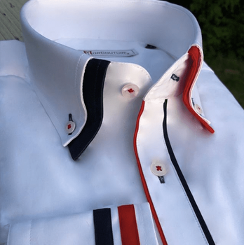 MorCouture White Red Black Trim Double Collar Shirt