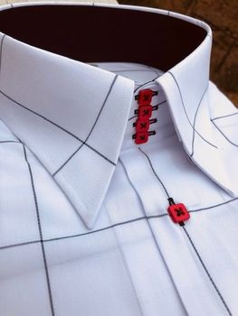 MorCouture White Red Black Wide Windowpane Shirt