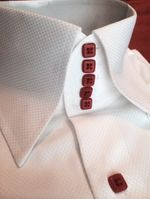 MorCouture White Red Centipede Shirt  L(16 - 16.5)