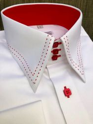 MorCouture White Red Stitch High Collar Shirt
