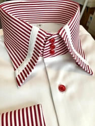 MorCouture White Red Stripe Border Strip High Collar Shirt (10 color options)