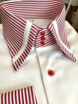 MorCouture White Red Stripe High Collar Shirt