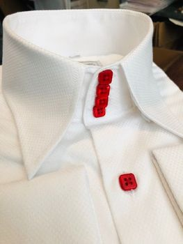 MorCouture White Red Woven High Collar Shirt L(16 - 16.5)
