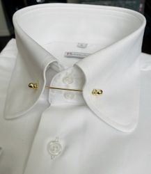 MorCouture White Rounded Tie-Pin Collar Shirt