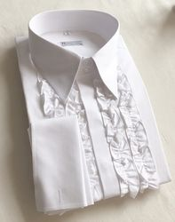 MorCouture White Ruffle Front Shirt