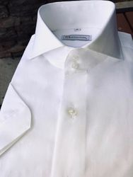 MorCouture White Short Sleeve Spread Collar Shirt