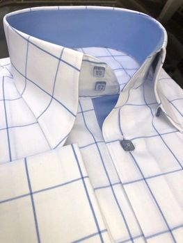 MorCouture White Sky Windowpane High Collar Shirt