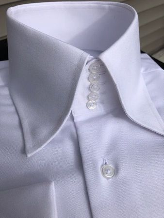 MorCouture White Oxford <br> 5Button Centipede <br>High Collar Shirt