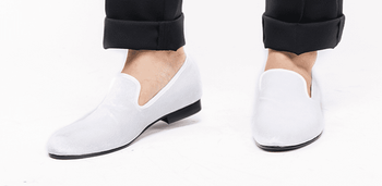MorCouture White Velvet Loafers