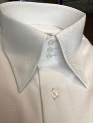 MorCouture White Woven 3Button High Collar Shirt