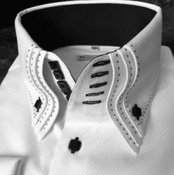 MorCouture White Woven Black Accent Centipede Stitch Shirt