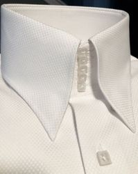 MorCouture White Woven Centipede High Collar Shirt