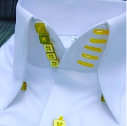 MorCouture White Yellow Centipede Collar Shirt -Special order