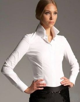 MorCouture Womens High Collar Shirt